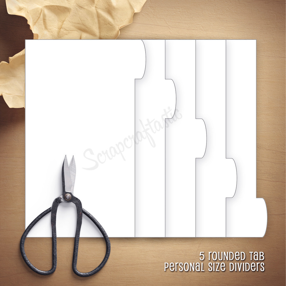 PERSONAL RINGS - 5 Rounded Tab Divider Printable Templates and Cut Files
