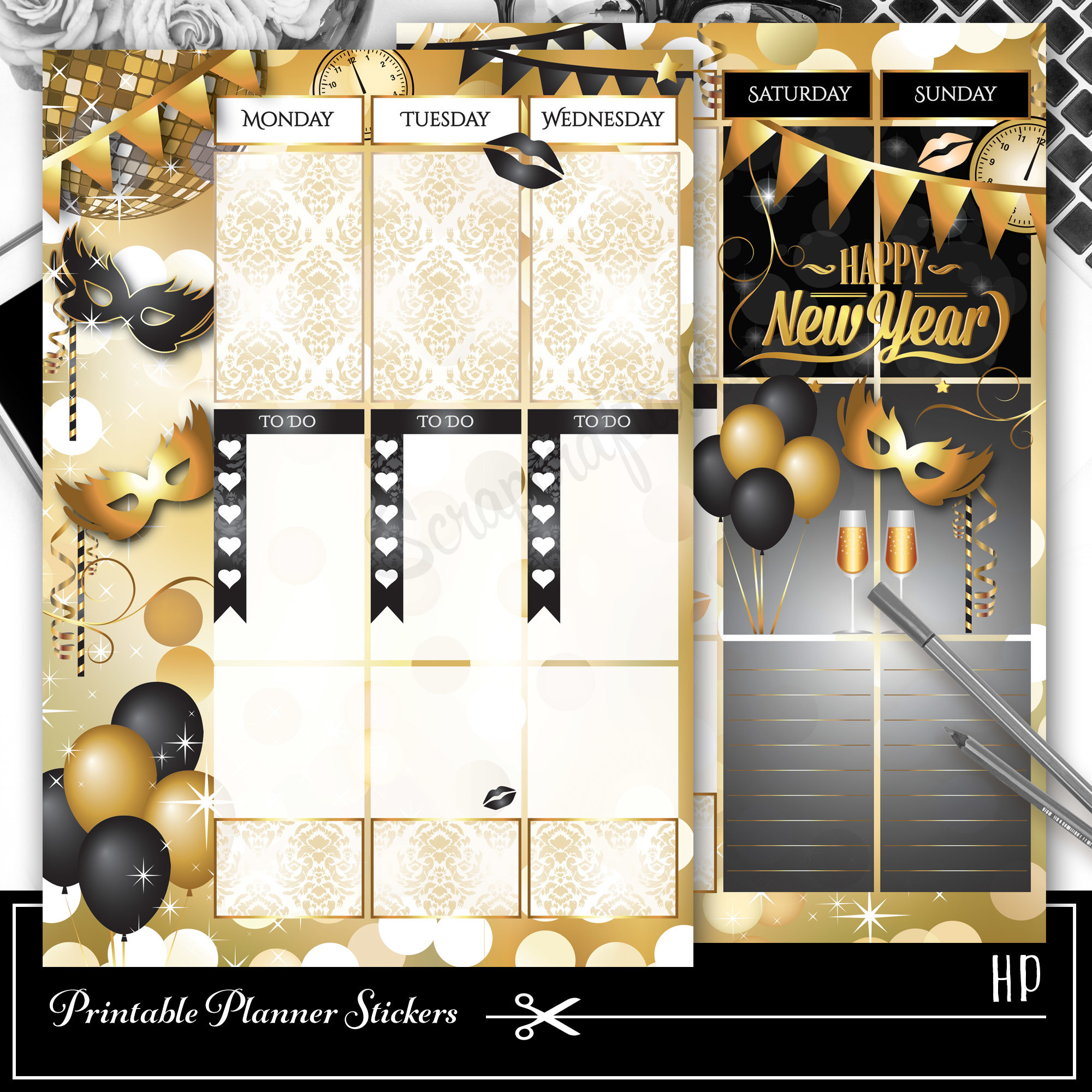 New Year Weekly Spread Printable Overlay for Classic Happy Planner 01005