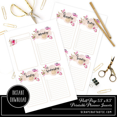 Rose Cream Undated Week on Two Page (WO2P) Half Page Designed Printable Planner Inserts