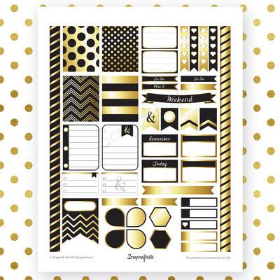 Onyx & Gold Printable Planner Stickers for Erin Condren Life Planner