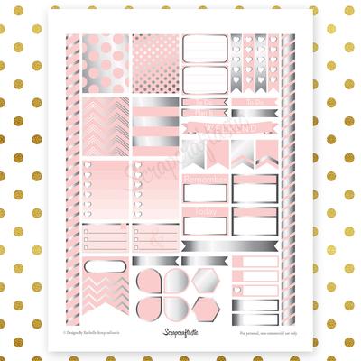 Lite Pink & Silver Pro Printable Planner Stickers for Erin Condren Life Planner