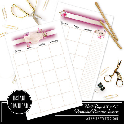 Rose Cream Undated Month on Two Page (MO2P) Half Page Designed Printable Planner Inserts