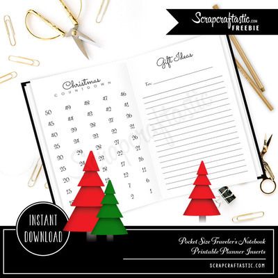 Christmas Countdown and Gift Ideas Pocket Size Traveler's Notebook Inserts