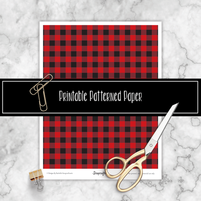 Red and Black Checkered Buffalo Plaid Printable Pattern