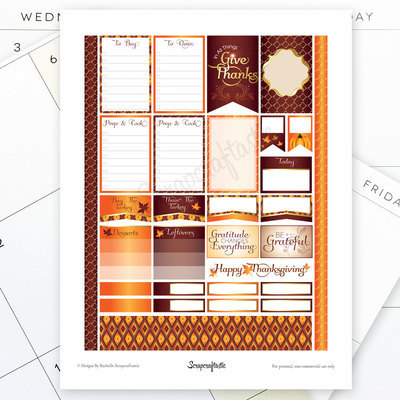 Thanksgiving Planning Printable Planner Stickers for the Classic Mambi Happy Planner