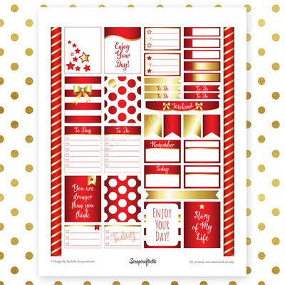 All Crimson Pro Printable Planner Stickers for Erin Condren (EC) Life Planner