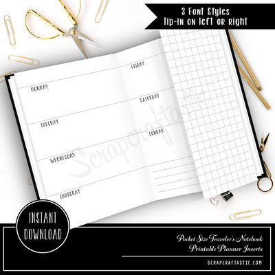 Horizontal Week On Two Pages Pocket Size with Grid Tip-In on Left or Right Pocket Traveler's Notebook Printable Planner Inserts Undated