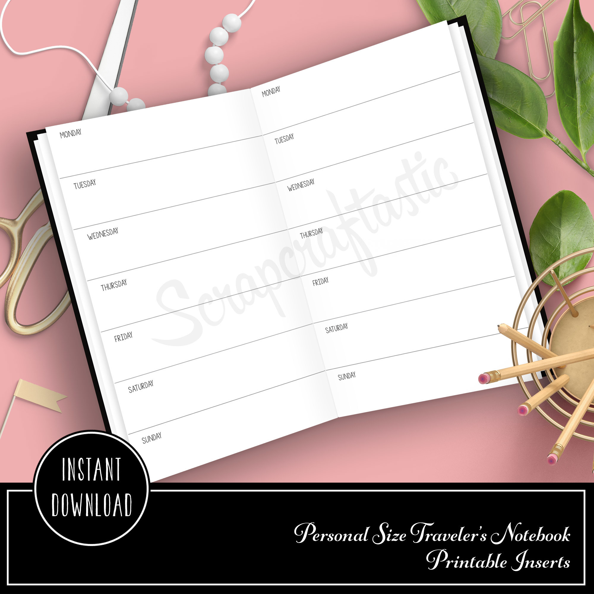Horizontal Week On One Page Personal Size Traveler's Notebook Printable Planner Inserts Undated 00204
