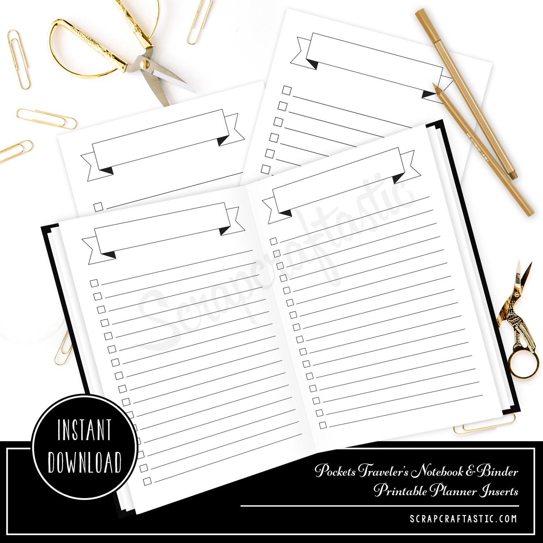 Banner Header and Check List Planner Printable Insert Refill for Pocket Size Traveler's Notebook and Pocket Size Binder