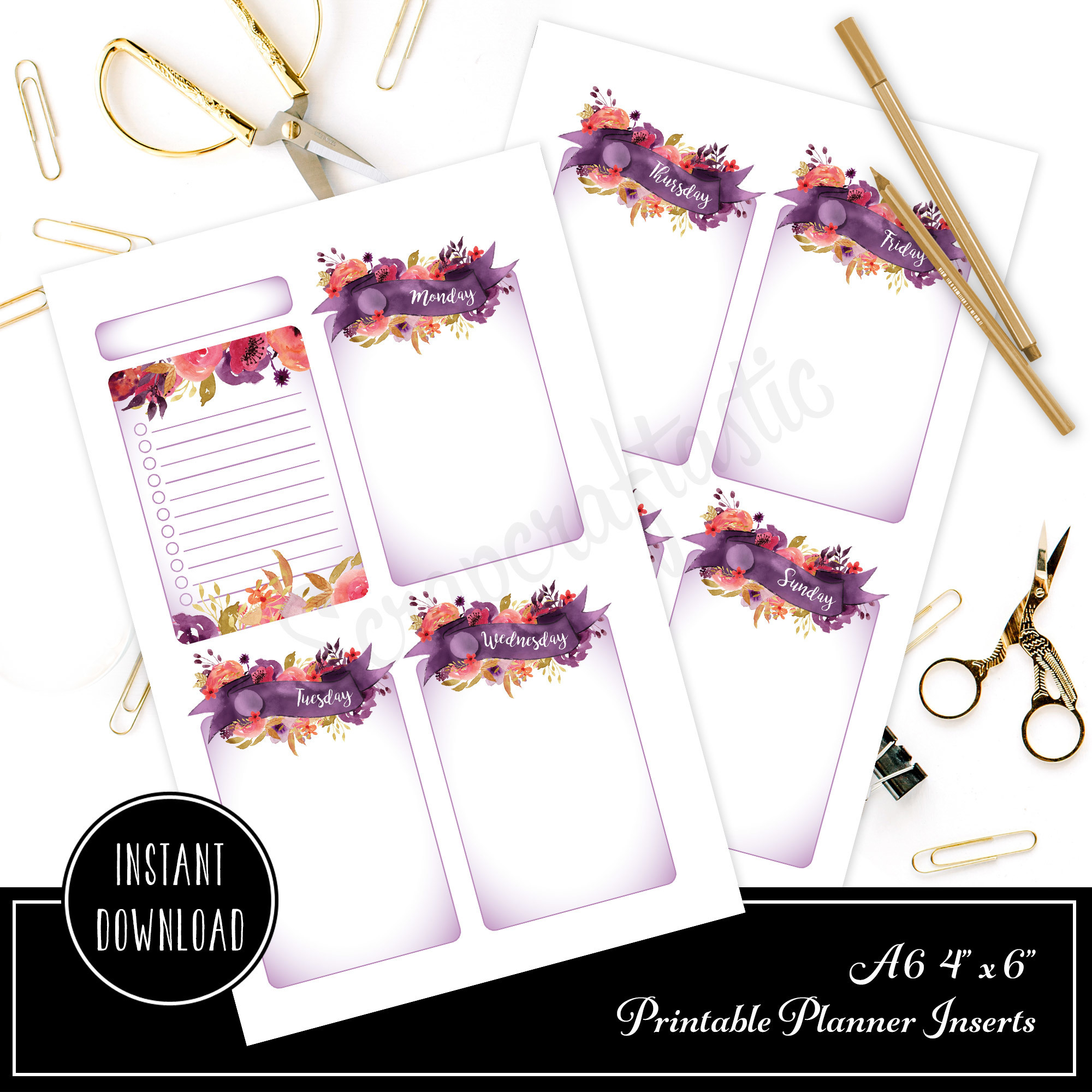 4x6 / A6 Royalty Undated Week on Two Page (WO2P) and Lined Notes Designed Printable Planner Inserts and Printable Designed Cover 40004