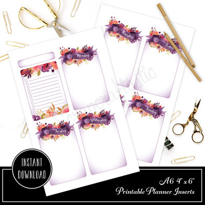 4x6 / A6 Royalty Undated Week on Two Page (WO2P) and Lined Notes Designed Printable Planner Inserts and Printable Designed Cover