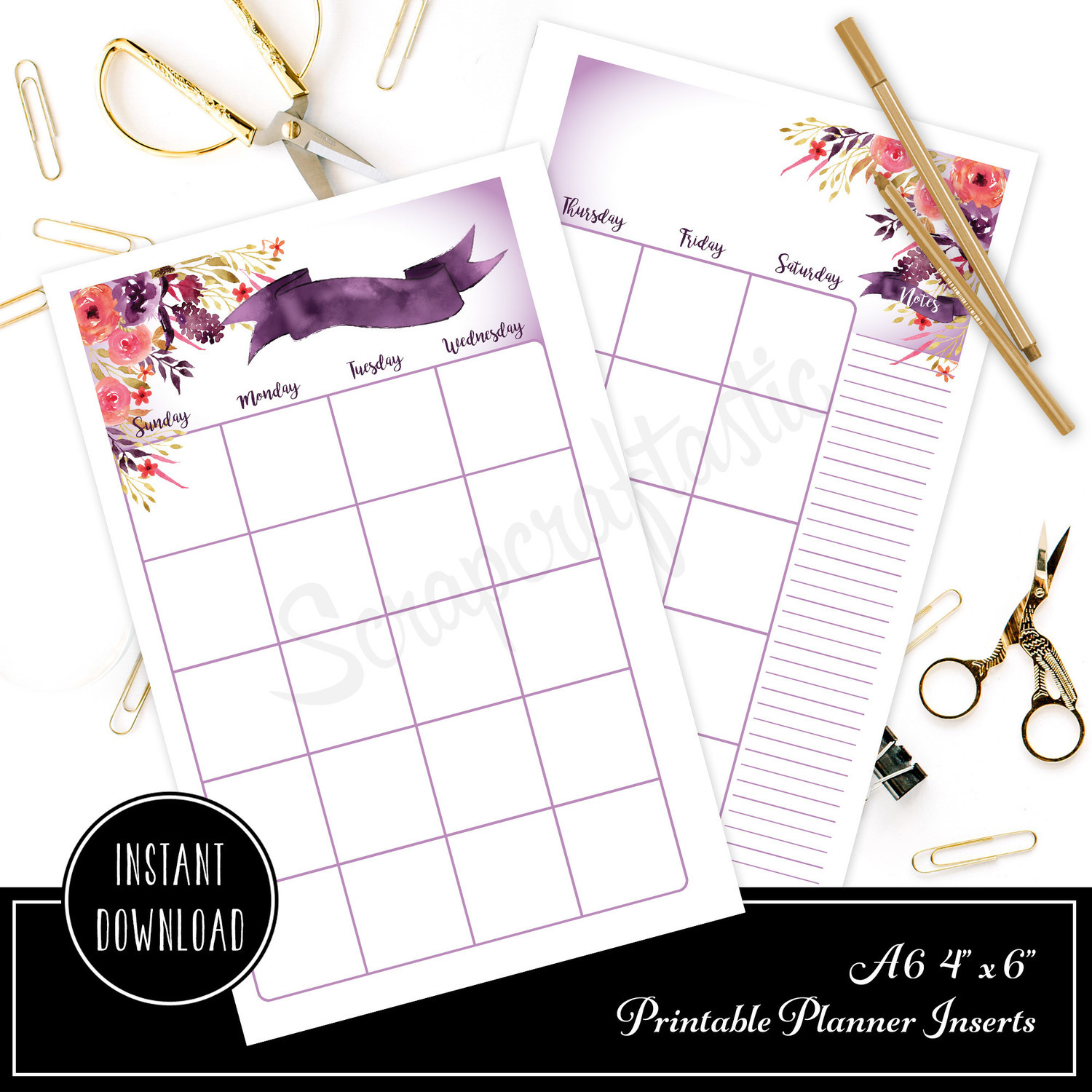 4x6/A6 Royalty Undated Month on Two Page (MO2P) Designed Printable Planner Inserts and Designed Printable Cover