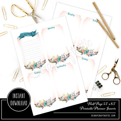 Ice Cream Undated Week on Two Page (WO2P) and Lined Notes HALF PAGE/A5 Designed Printable Travelers Notebook and Planner Inserts