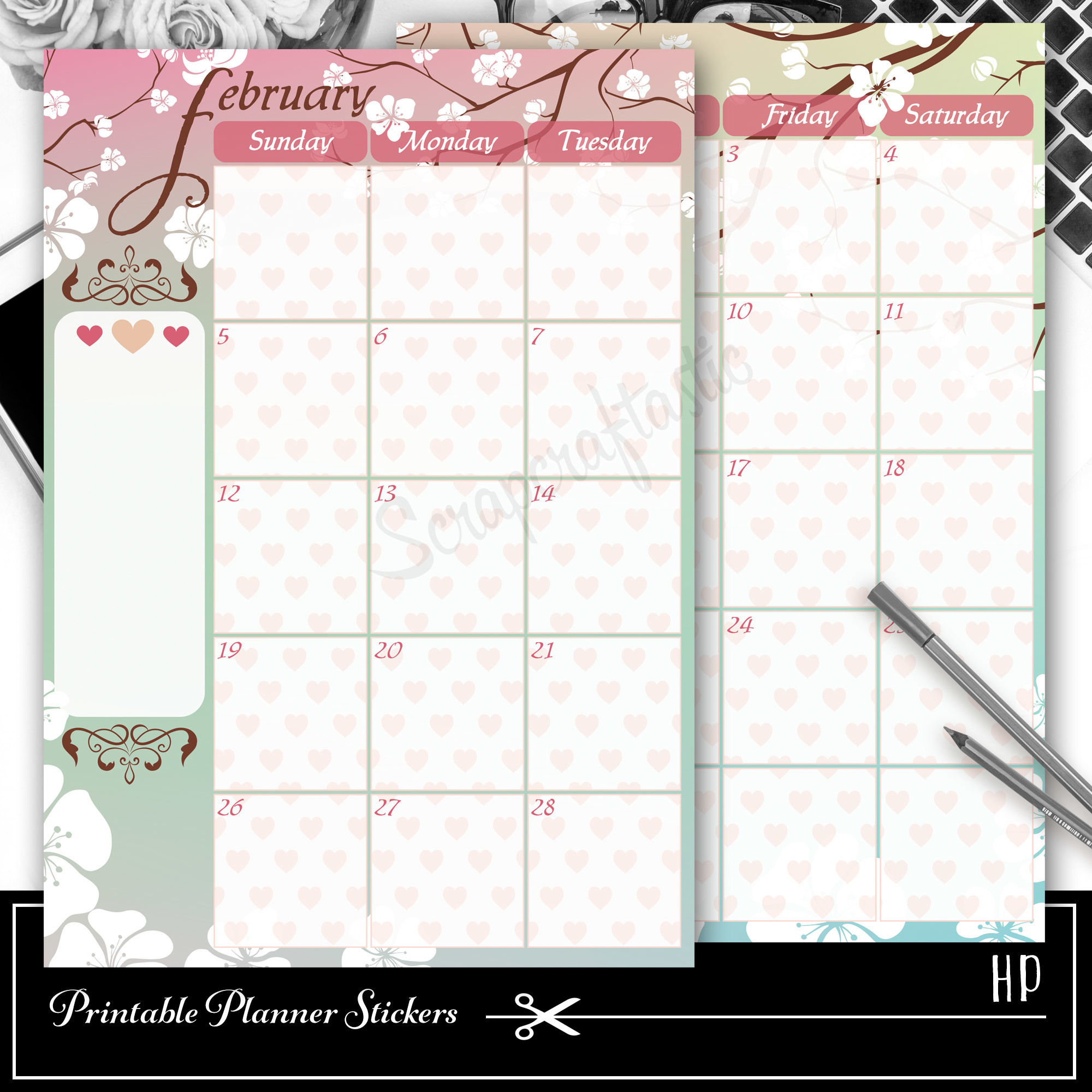 February Spread Printable Planner Sticker Overlay for classic size Mambi Happy Planner 01006