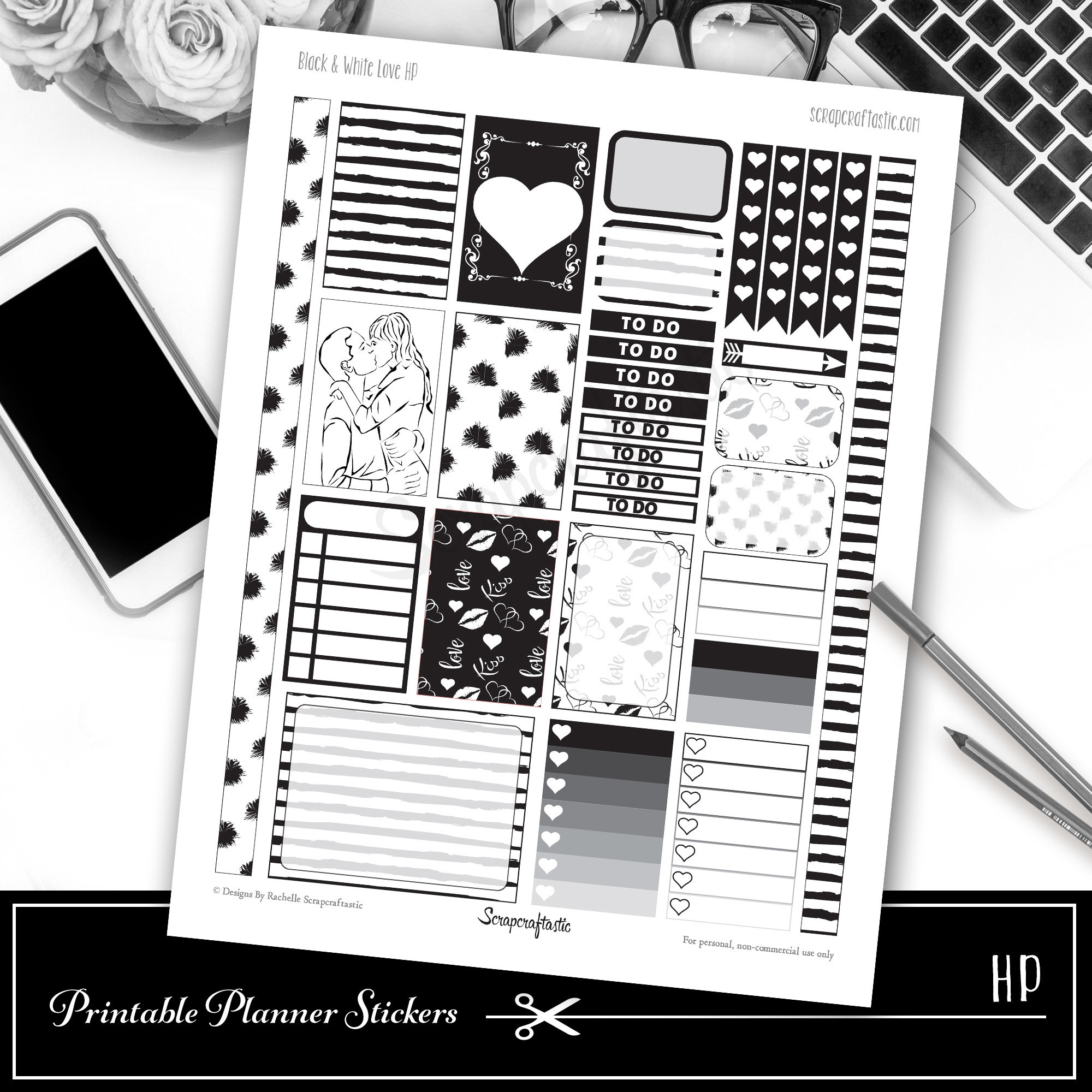 Black & White Love Printable Planner Stickers for Classic Happy Planner 01007