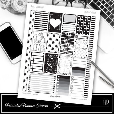 Black & White Love Printable Planner Stickers for Classic Happy Planner