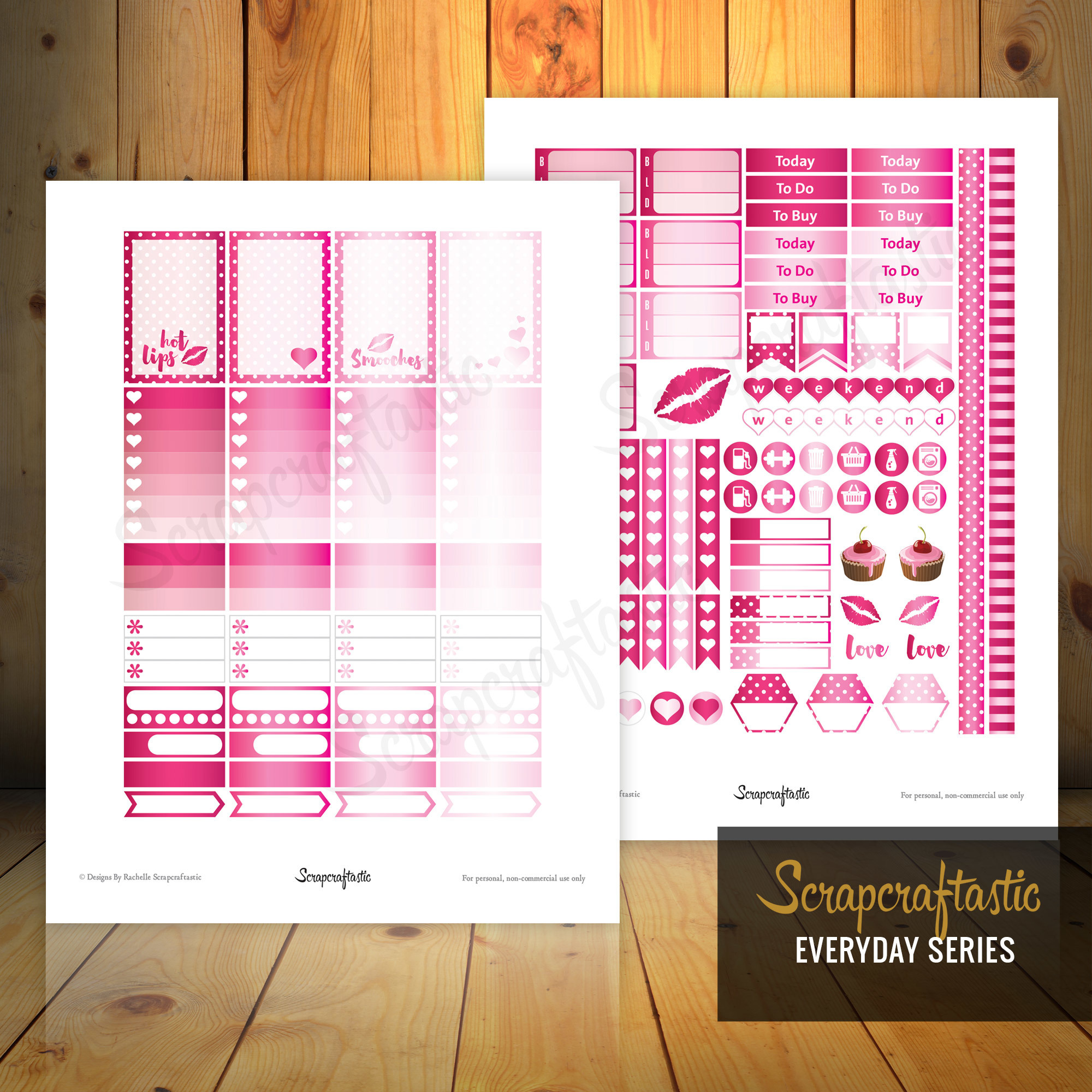 Pinkness Printable Planner Stickers | Classic Mambi Happy Planner Full Boxes | Half Box and other printable stickers for any planner 01017