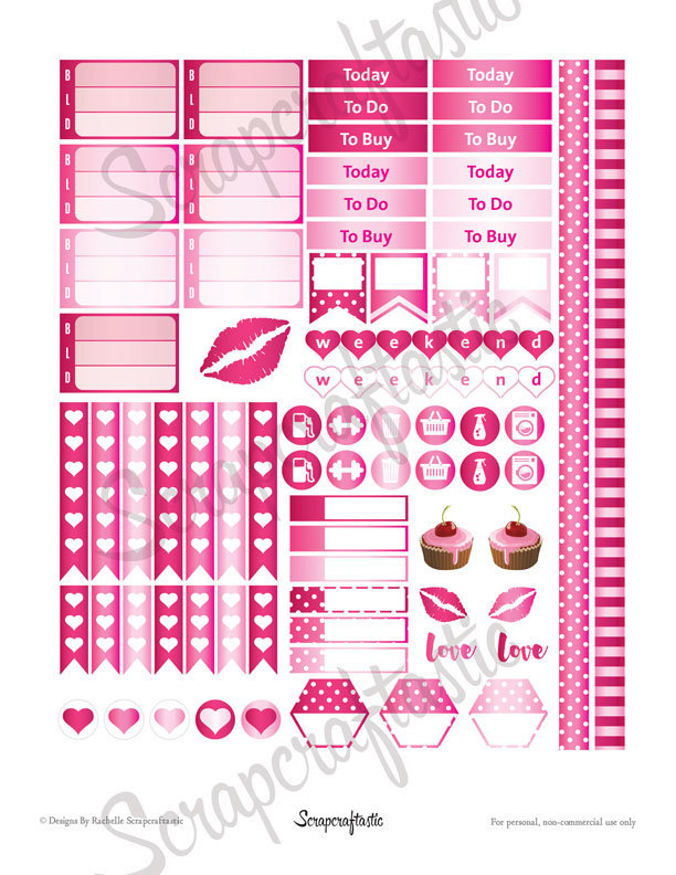 Pinkness Printable Planner Stickers | Classic Mambi Happy Planner Full Boxes | Half Box and other printable stickers for any planner