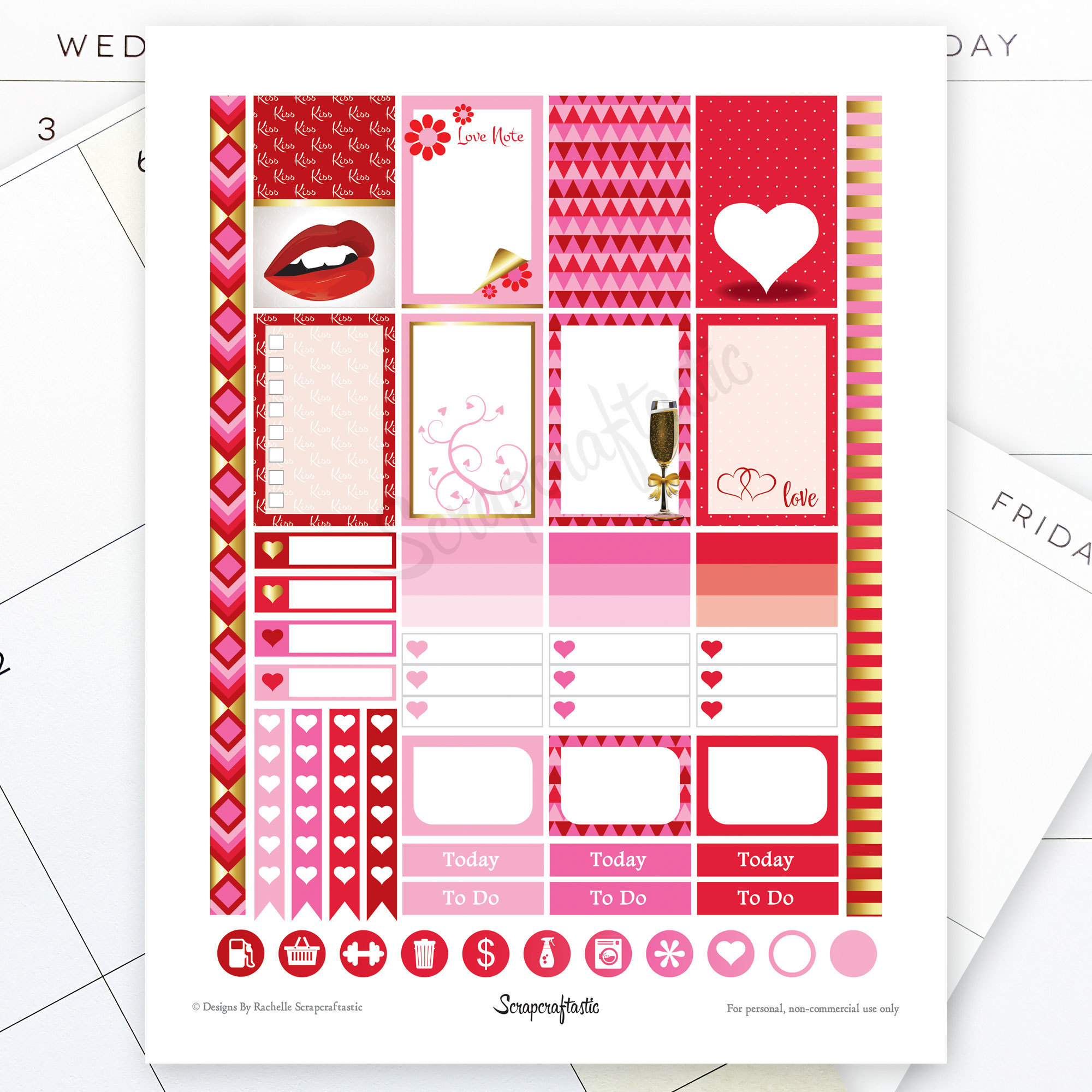 My Heart Printable Planner Stickers for the Classic Mambi Happy Planner 01008