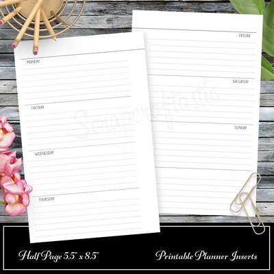 WO2P Horizontal Lined Planner Printable Insert Refill Half Page (A5) Size - Filofax, Kikki K, ColorCrush