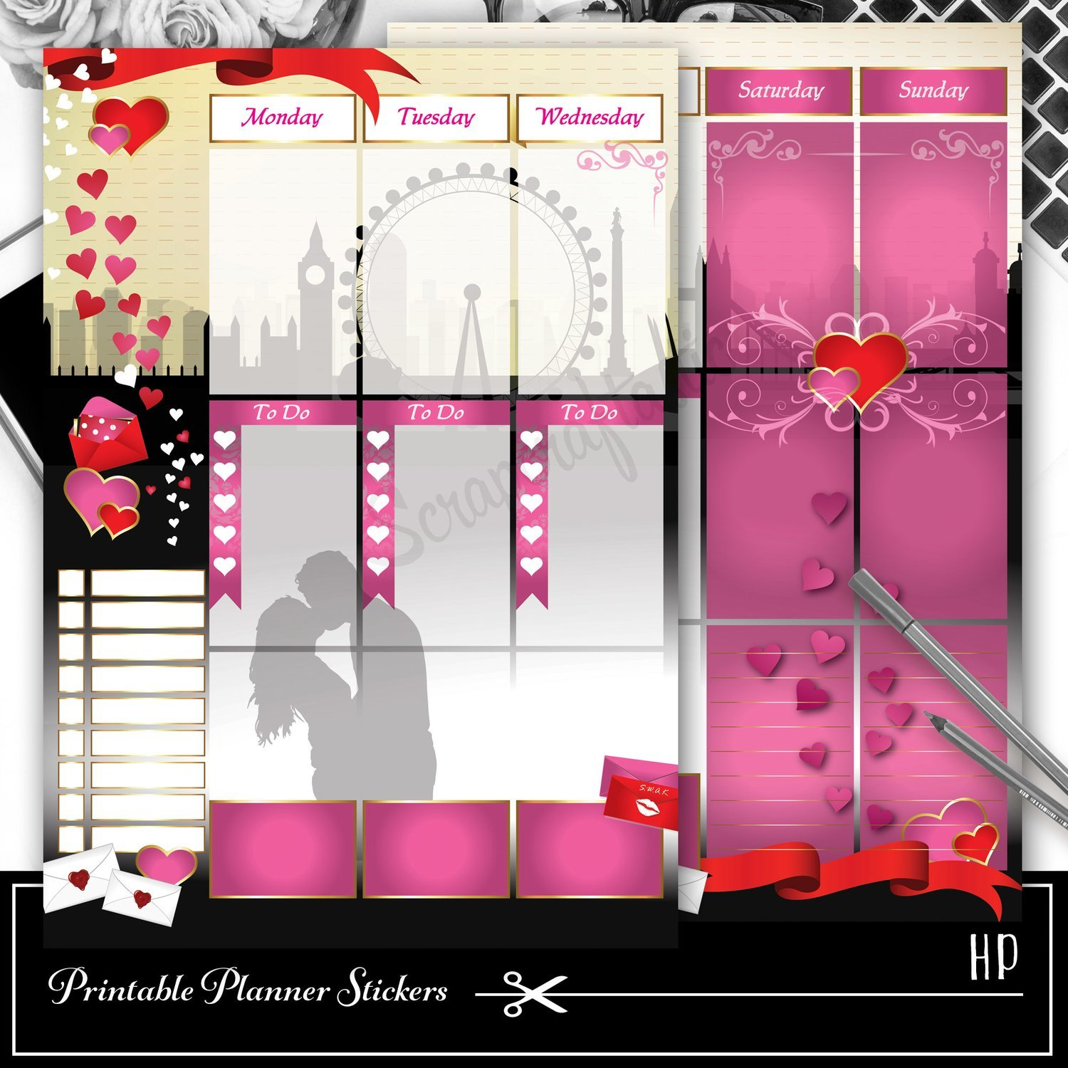 The Kiss Valentine Week Planner Spread Printable Planner Sticker Overlay for classic size Mambi Happy Planner
