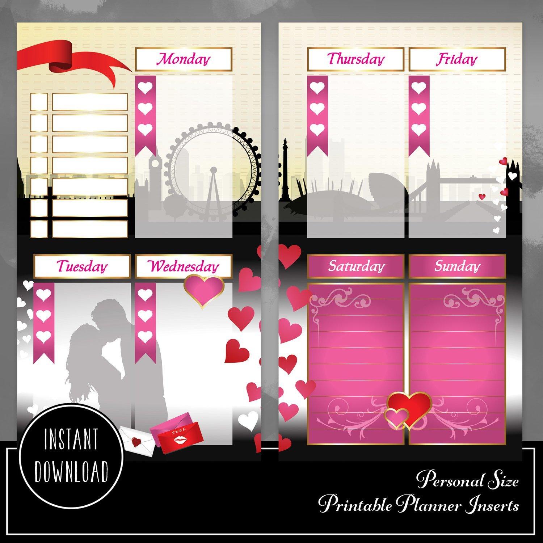 The Kiss Valentine Week Personal Size Binder or Traveler's Notebook Printable Planner Insert