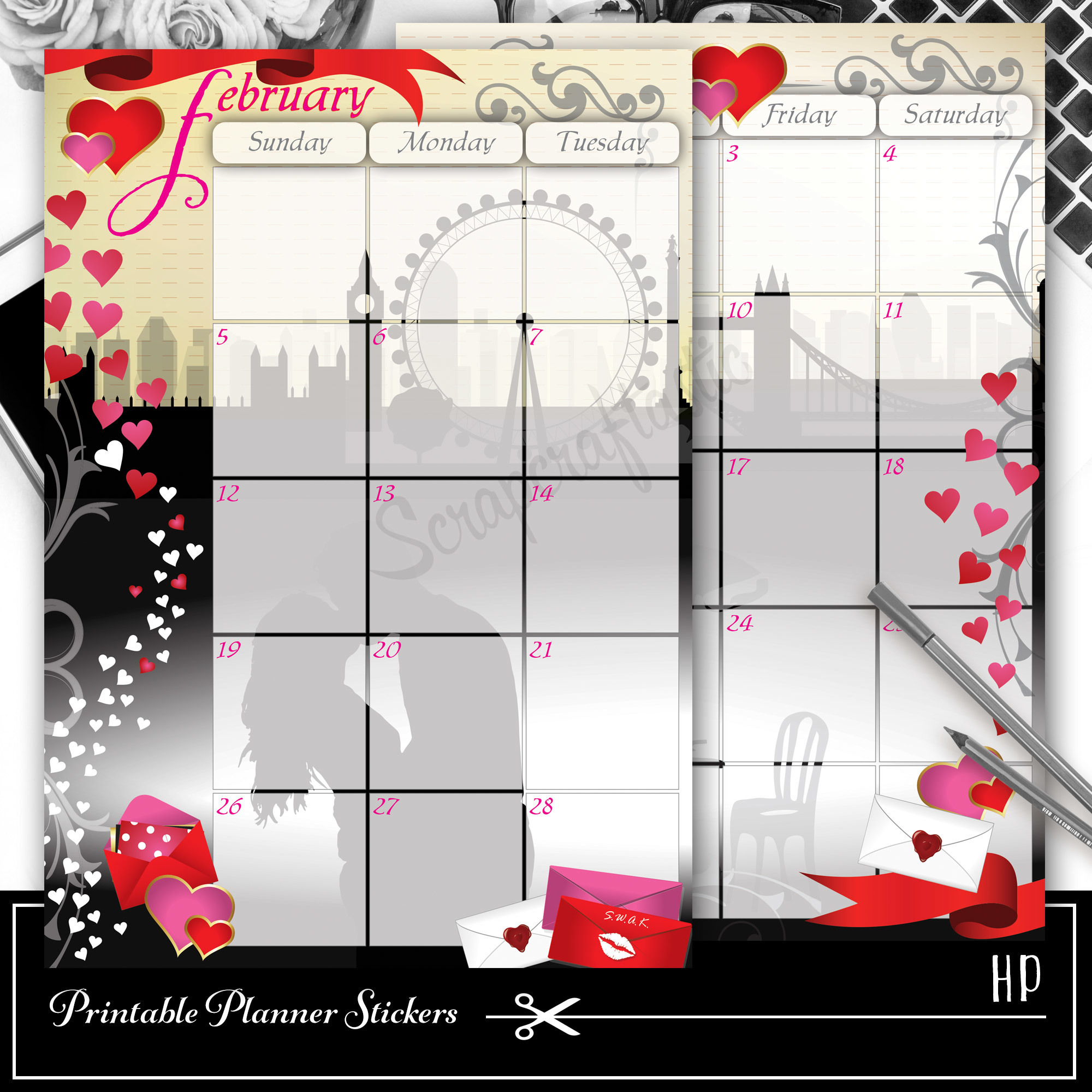 The Kiss February Spread Printable Planner Sticker Overlay for classic size Mambi Happy Planner 01010