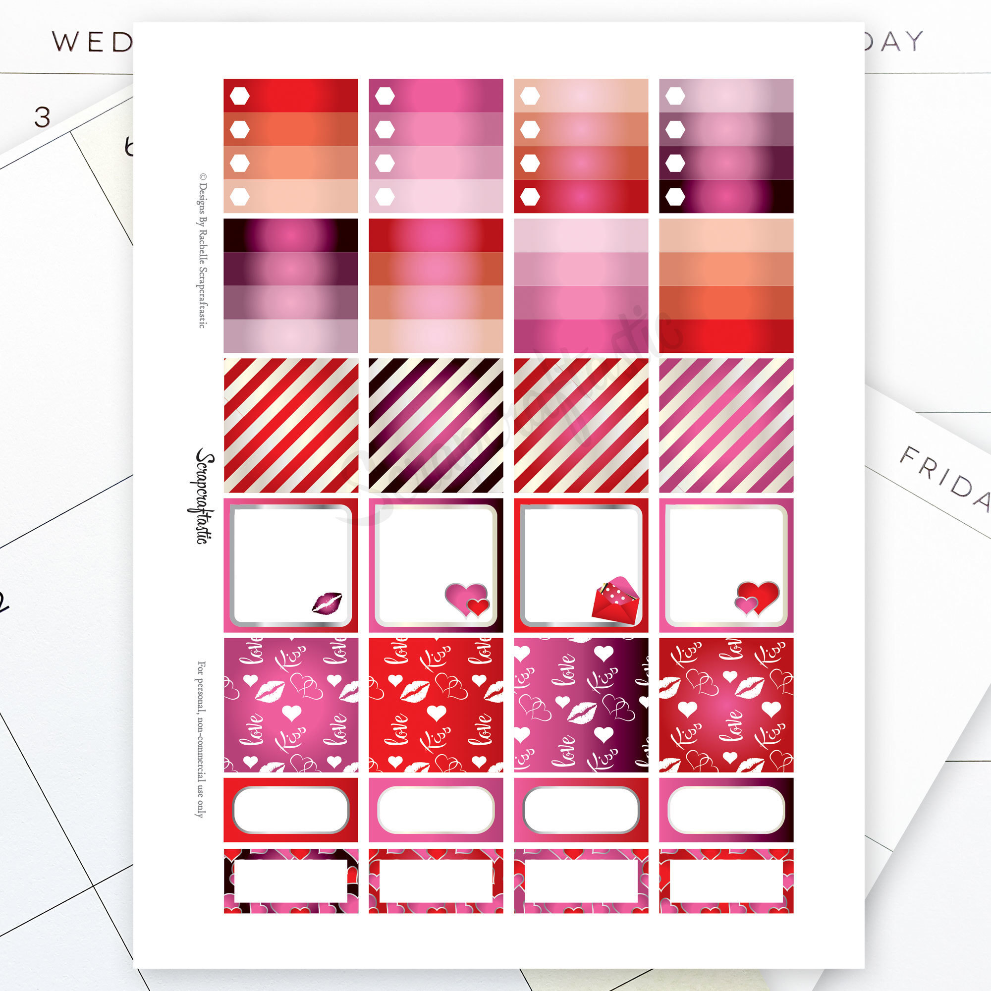 Valentine Planner Monthly Layout Printable Planner Stickers for the MAMBI Happy Planner 01011