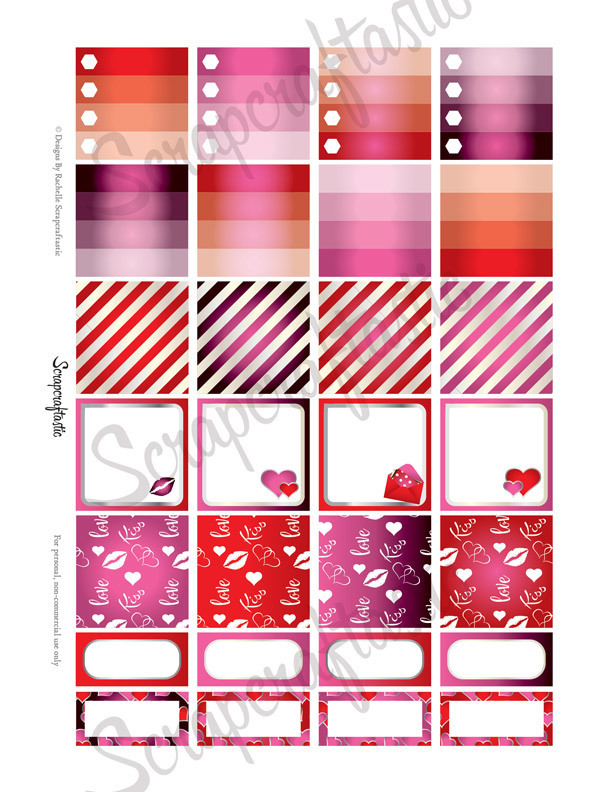 Valentine Planner Monthly Layout Printable Planner Stickers for the MAMBI Happy Planner