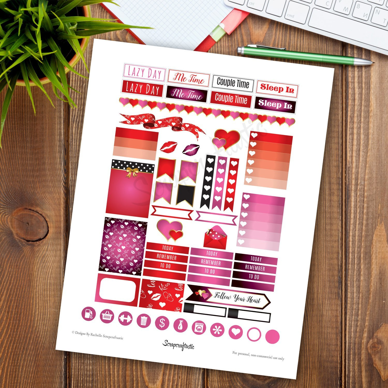 Follow Your Heart Valentine Printable Planner Stickers | Erin Condren Size Printable Stickers