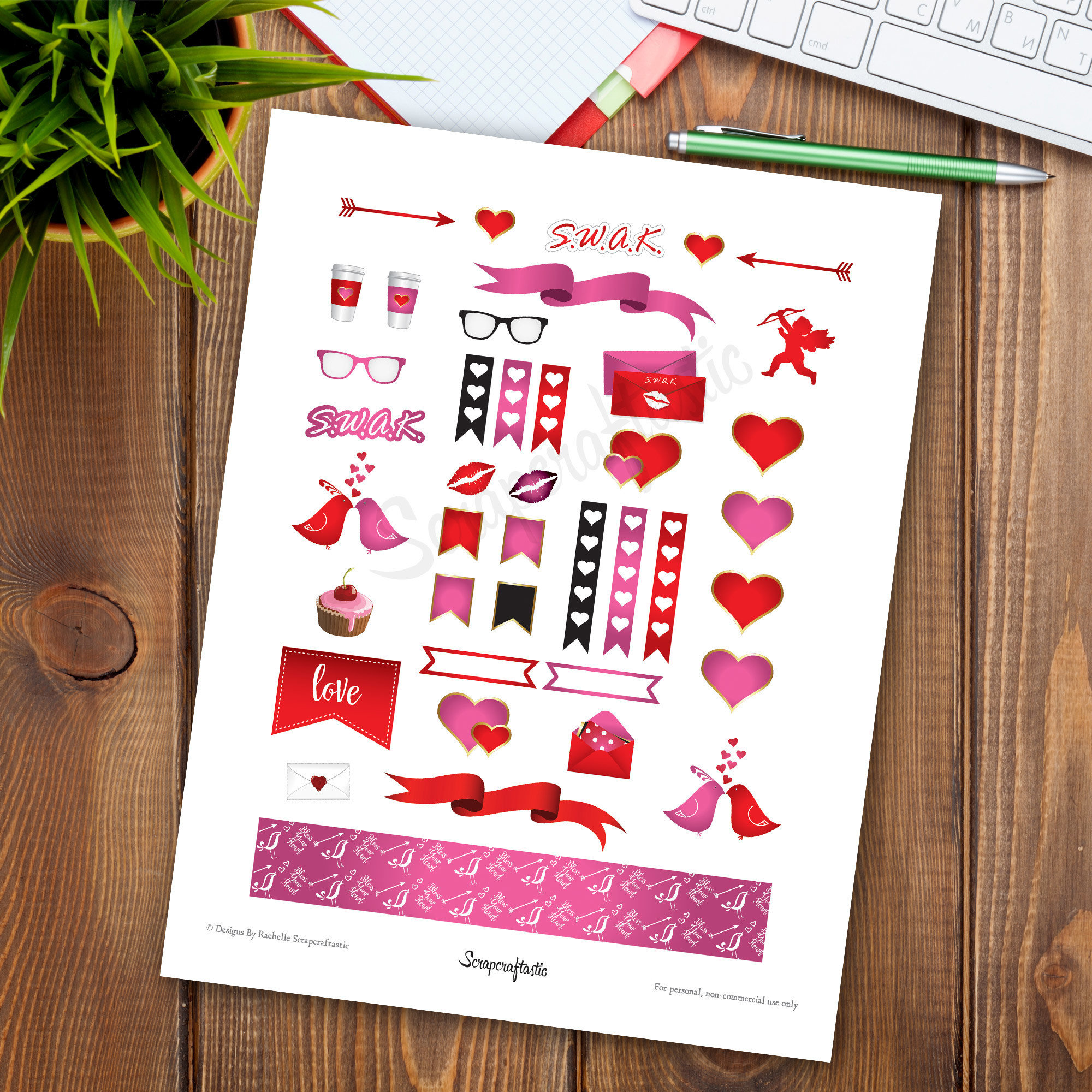 SWAK Printable Planner Stickers | Valentine Printable Graphics for Scrapbooking and Crafting 01020