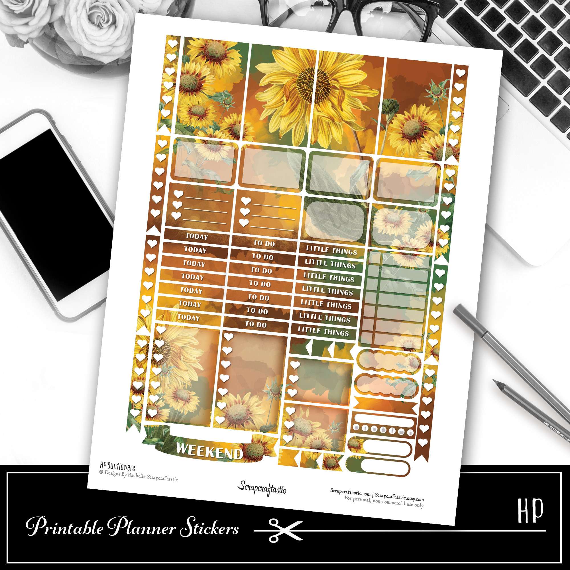 HP Sunflowers Printable Planner Stickers 01012
