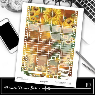 HP Sunflowers Printable Planner Stickers