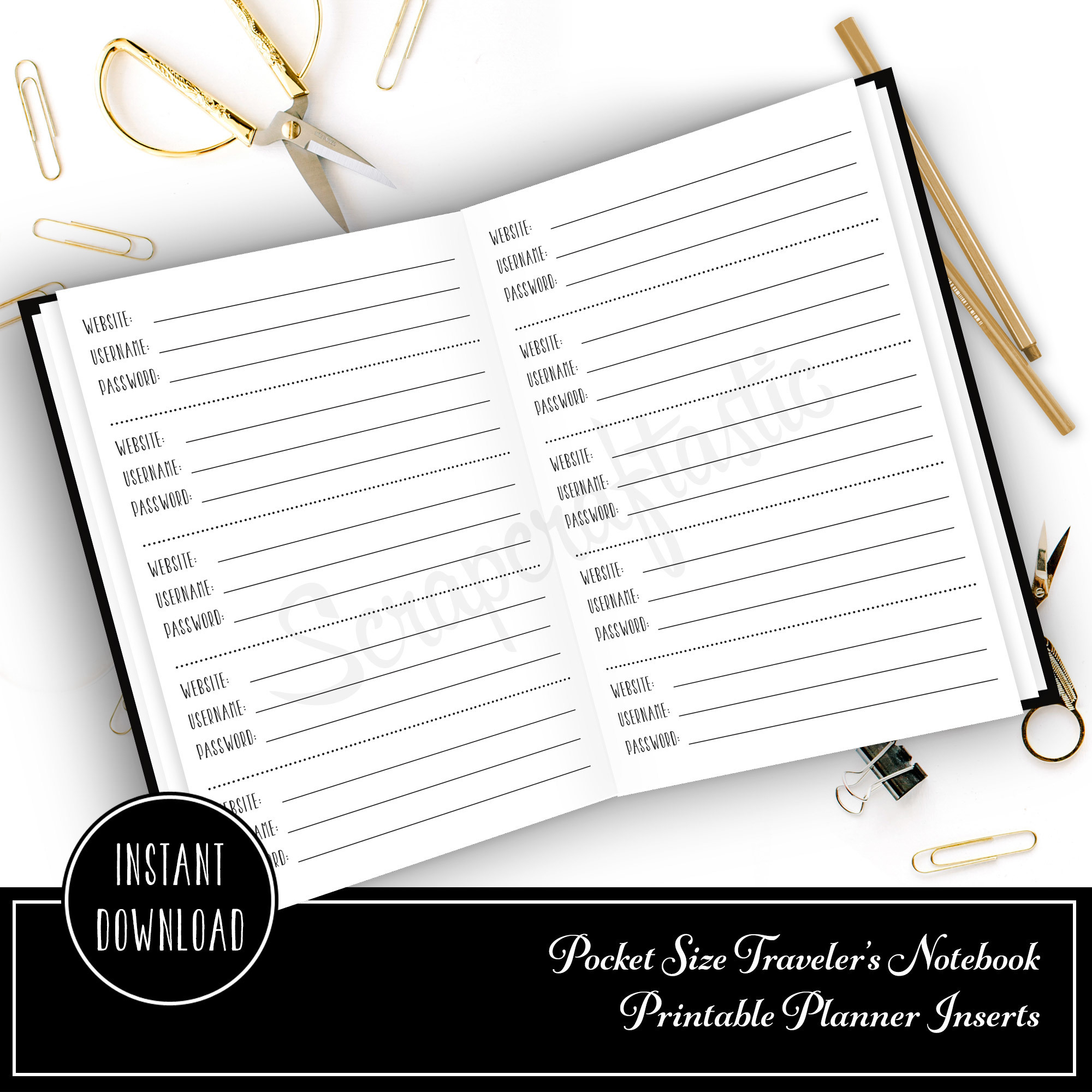 Password Pocket Size Traveler's Notebook Printable Planner Inserts 00810