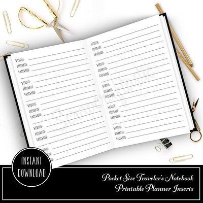 Password Pocket Size Traveler's Notebook Printable Planner Inserts