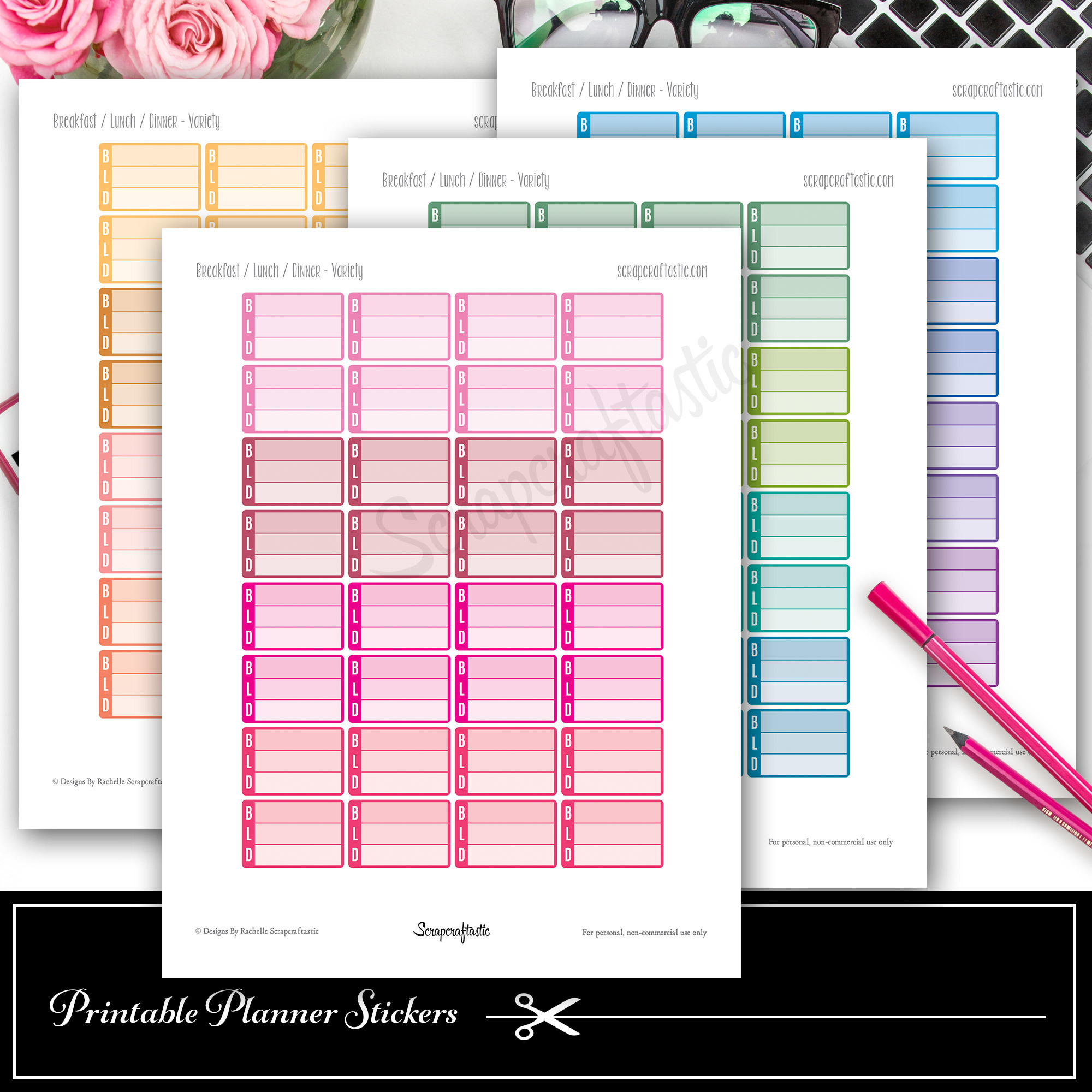 Breakfast, Lunch, Dinner (BLD) Printable Planner Stickers and Silhouette Cut File 03007