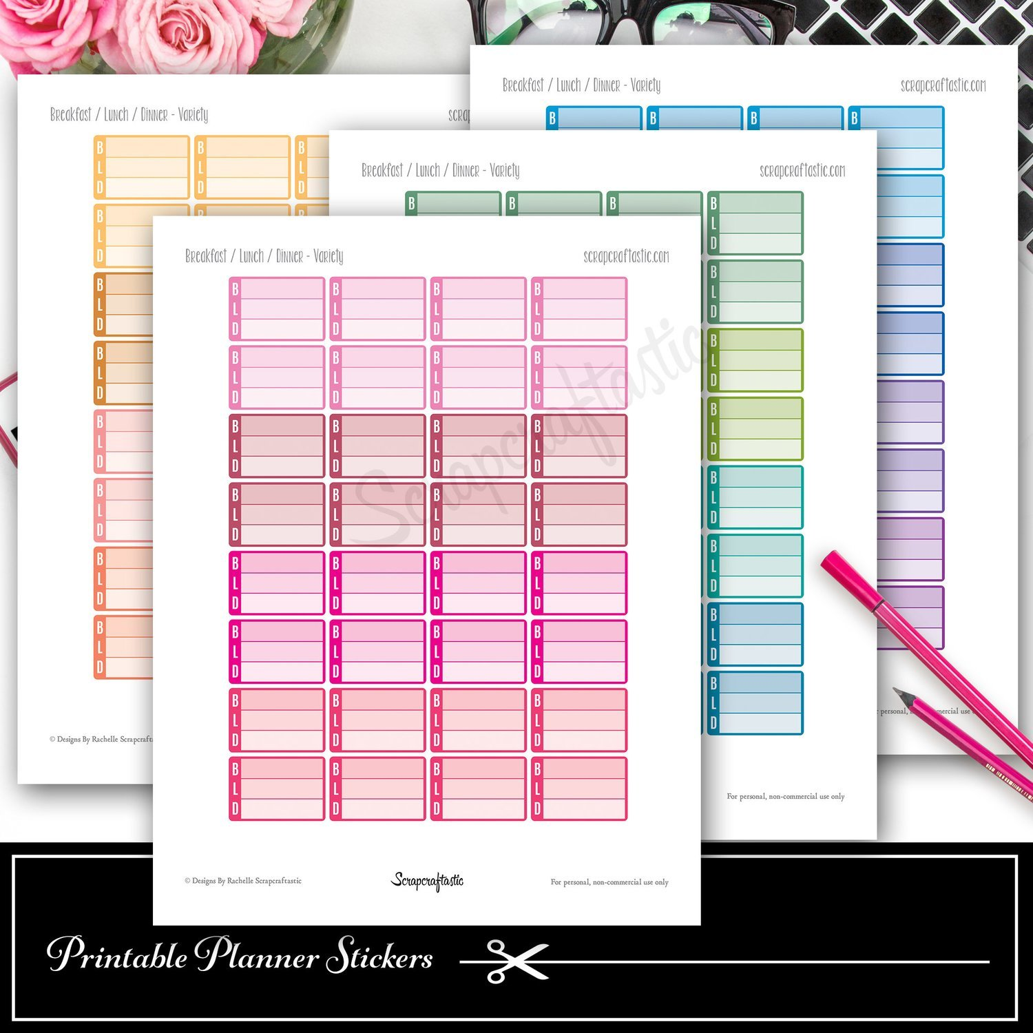 Breakfast, Lunch, Dinner (BLD) Printable Planner Stickers and Silhouette Cut File