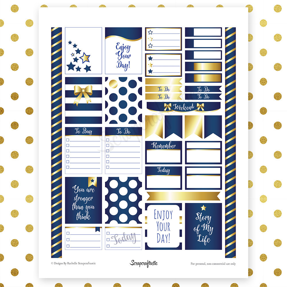 All Blue Pro Printable Planner Stickers for Erin Condren (EC) Life Planner 04019