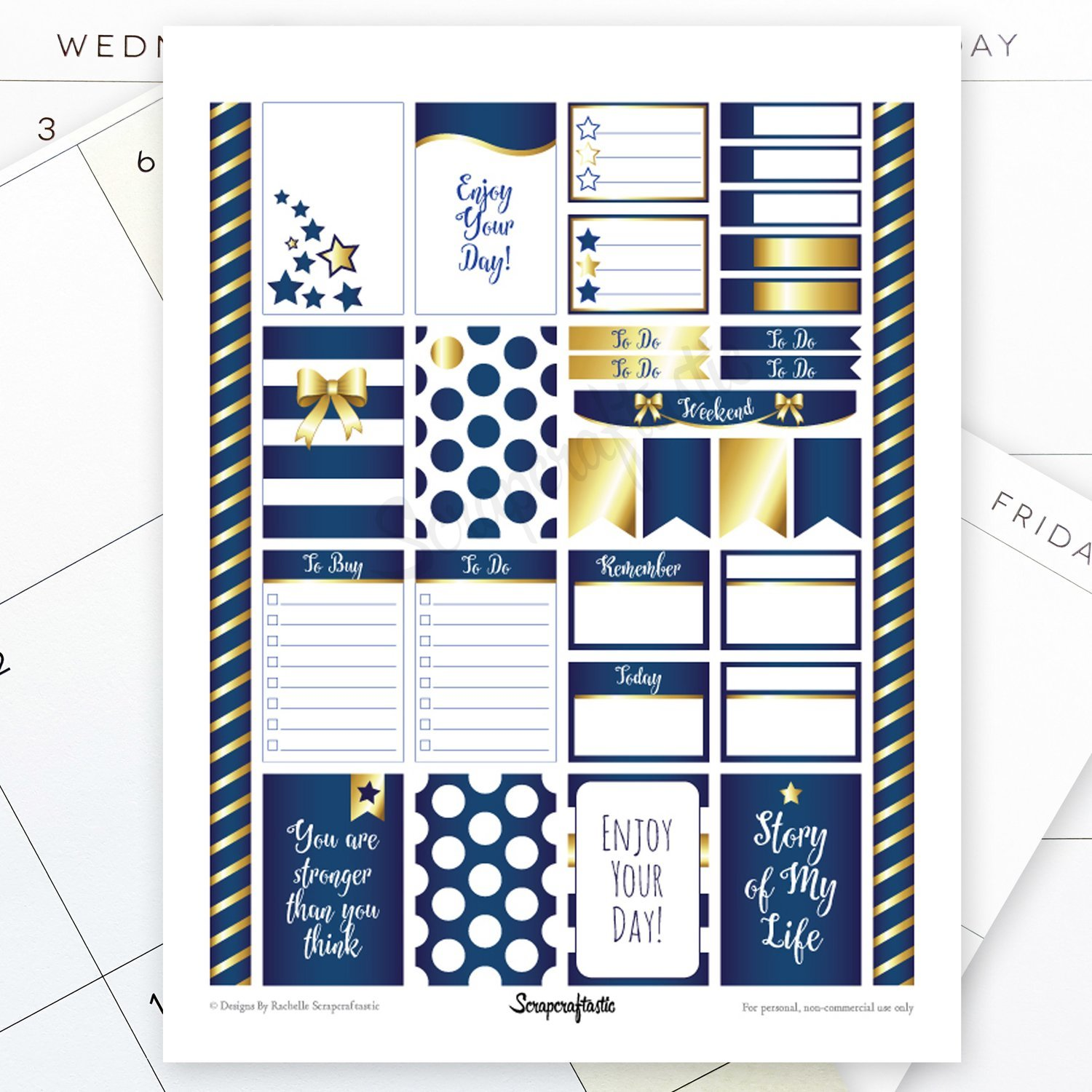 All Blue Pro Printable Planner Stickers for the Classic MAMBI Happy Planner
