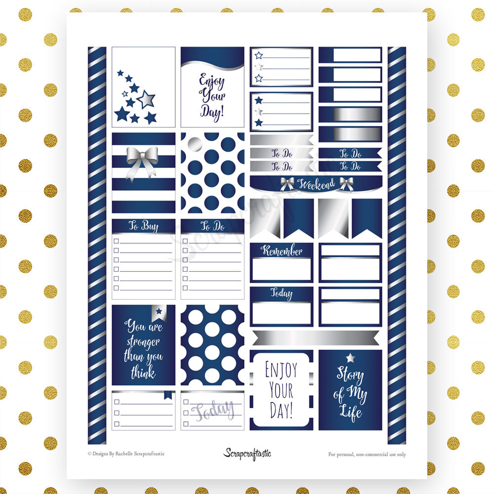 All Blue Silver Pro Printable Planner Stickers for Erin Condren Life Planner 04022