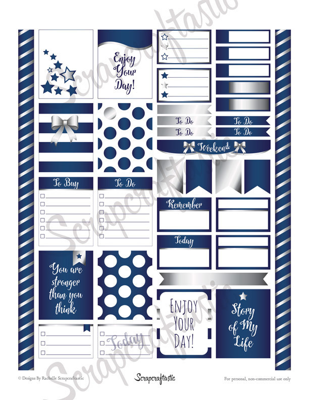 All Blue Silver Pro Printable Planner Stickers for Erin Condren Life Planner