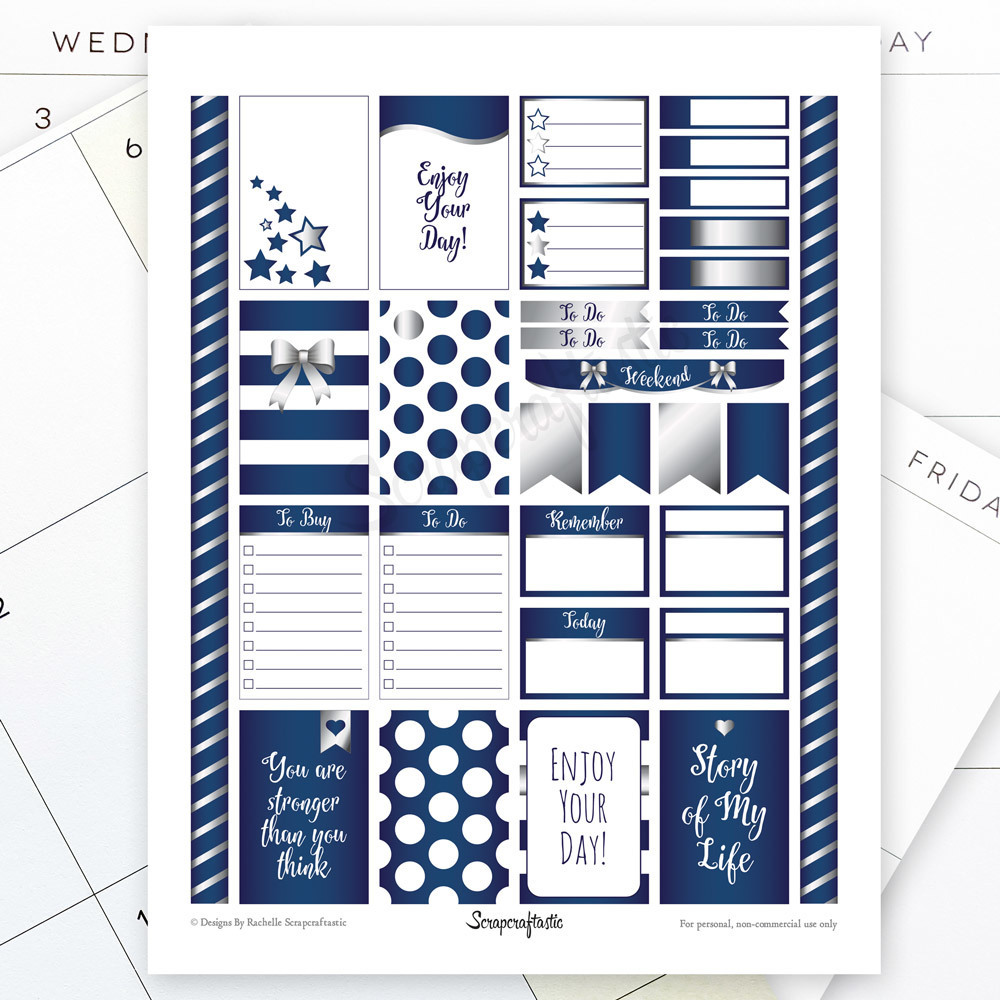 All Blue Silver Pro Printable Planner Stickers for the Classic MAMBI Happy Planner 04115