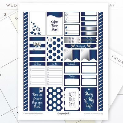All Blue Silver Pro Printable Planner Stickers for the Classic MAMBI Happy Planner