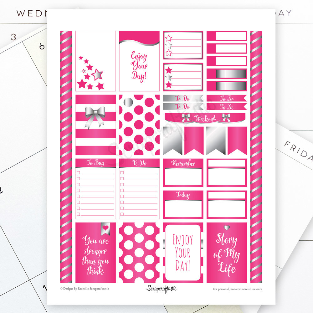 All Hot Pink Silver Pro Printable Planner Stickers for the Classic MAMBI Happy Planner 04106