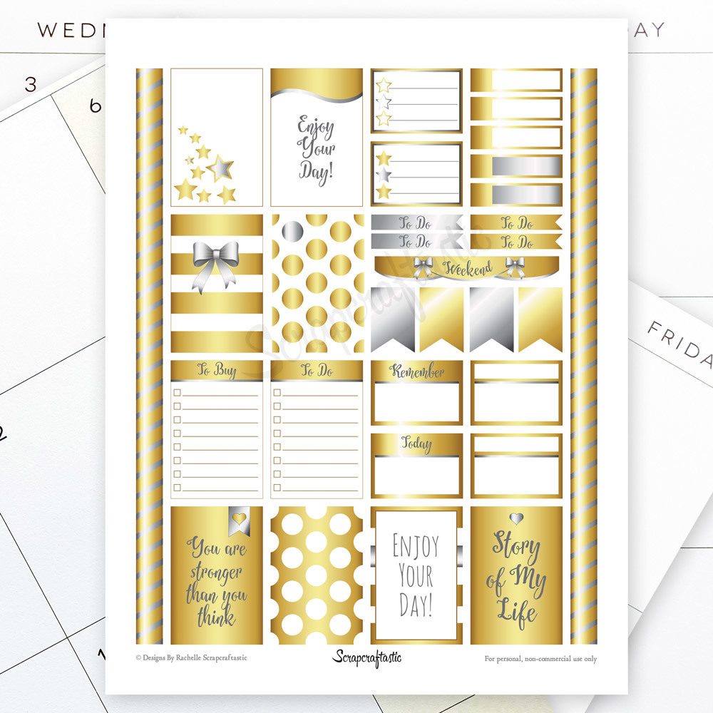 All Gold Silver Pro Printable Planner Stickers for the Classic MAMBI Happy Planner