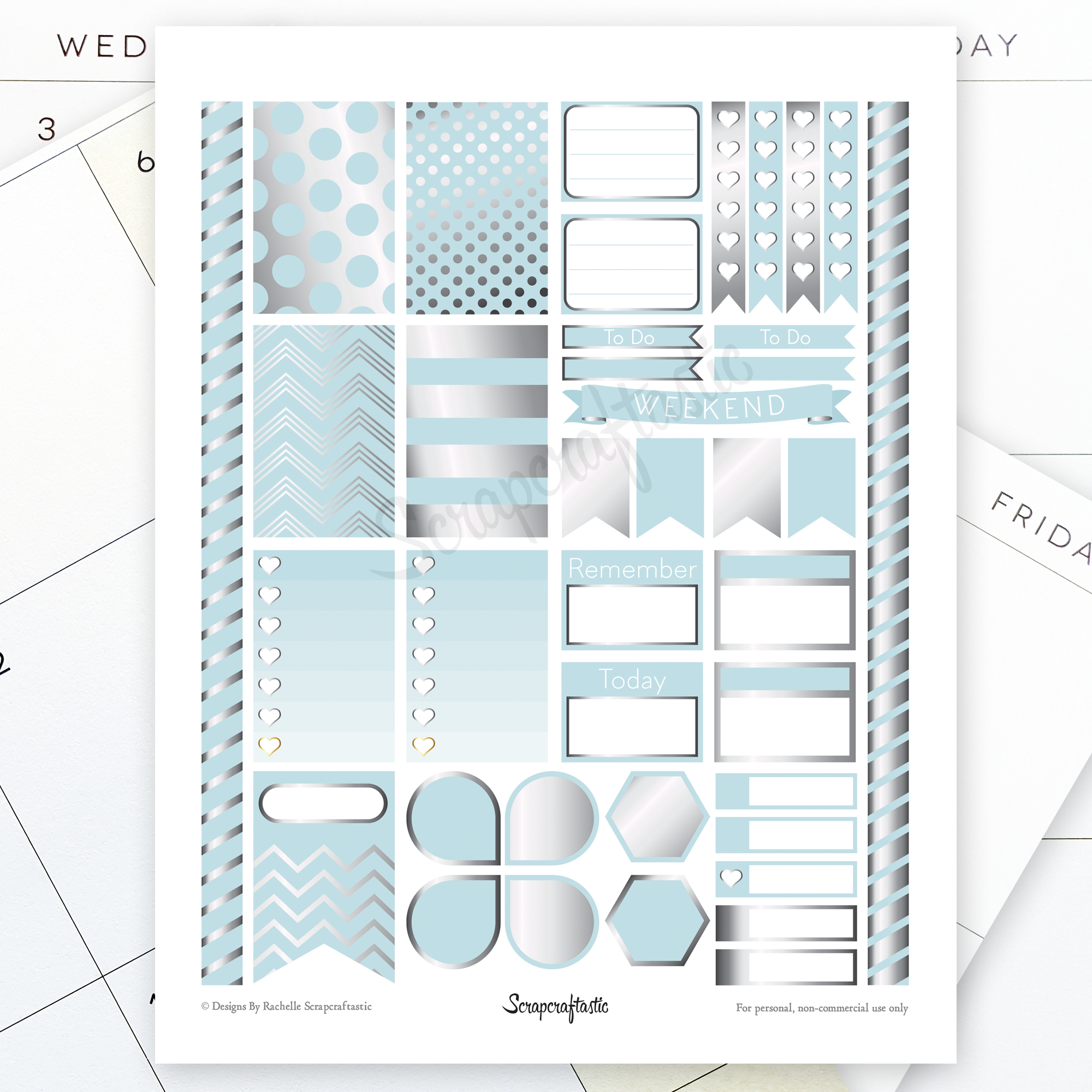 All Pro Sky Blue & Silver Printable Planner Stickers for the Classic MAMBI Happy Planner 04033