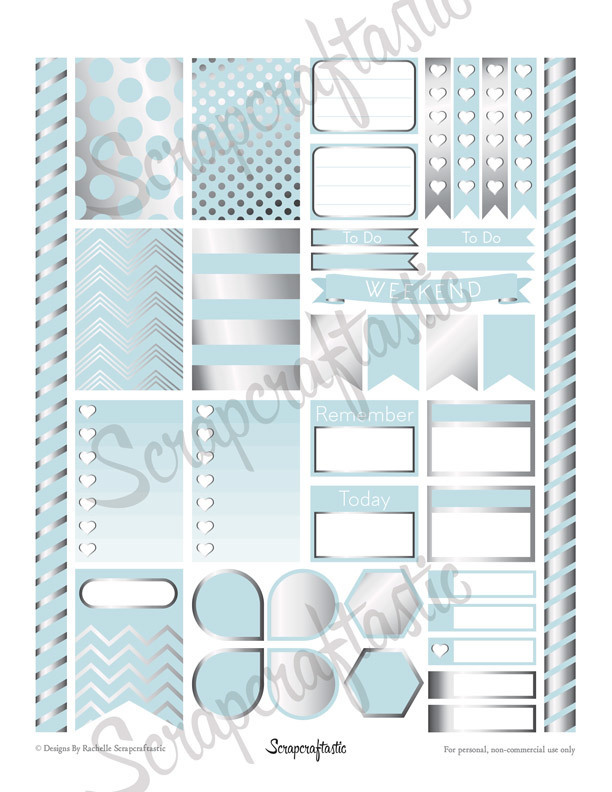 All Pro Sky Blue & Silver Printable Planner Stickers for the Classic MAMBI Happy Planner
