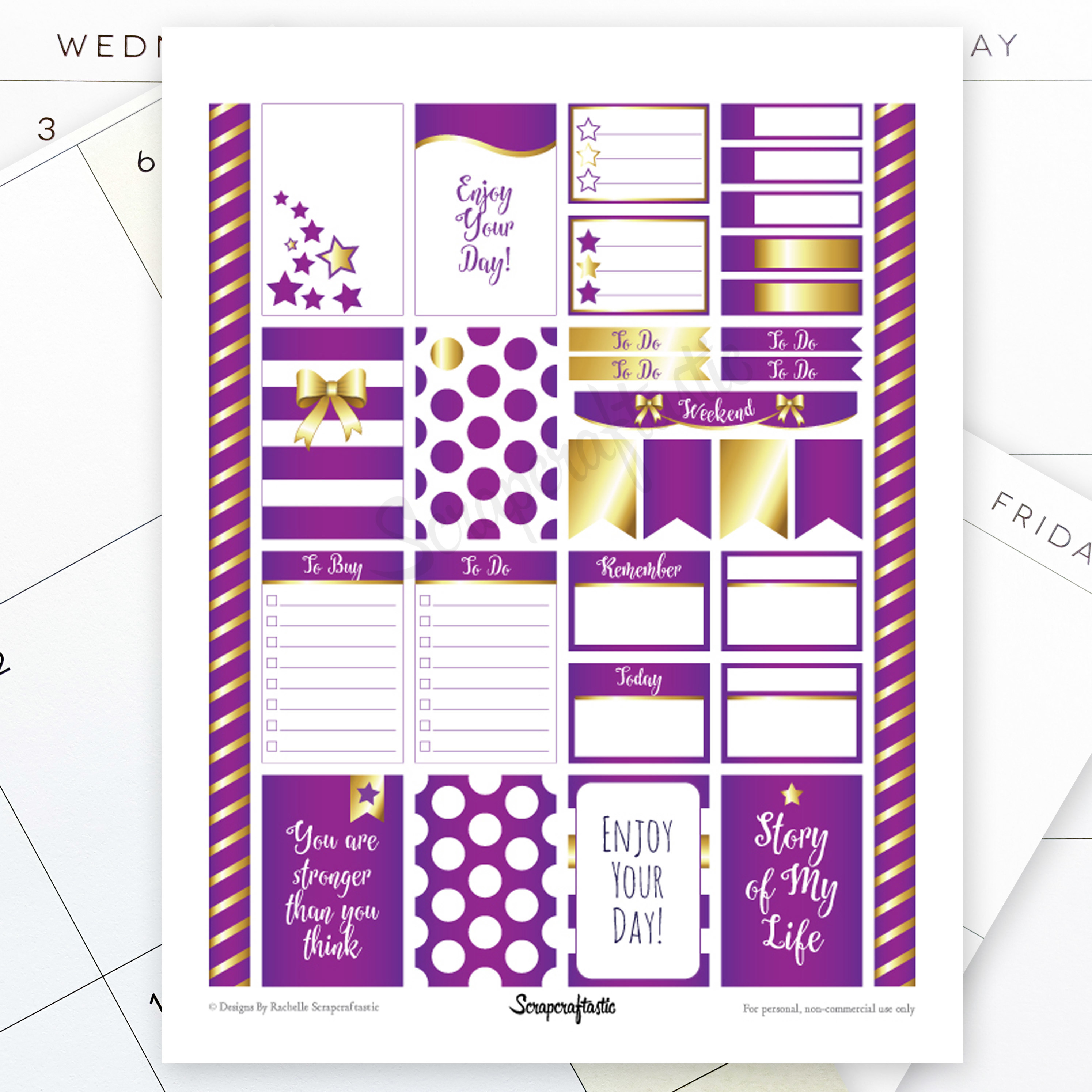 All Purple Pro Printable Planner Stickers for the Classic MAMBI Happy Planner 04091