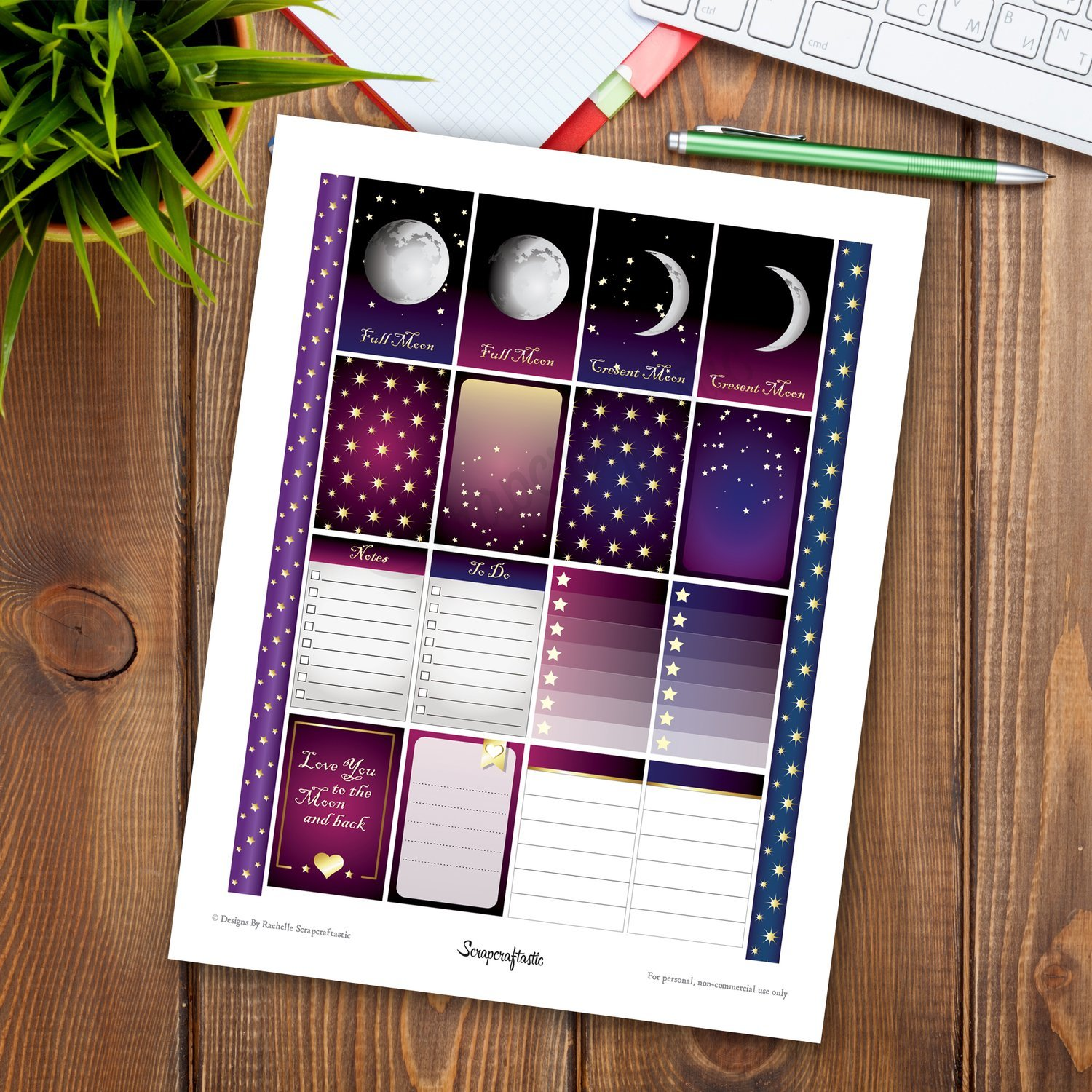 Astronomical Full Box Patterns and Designs Printable Planner Stickers for the Classic Mambi Happy Planner