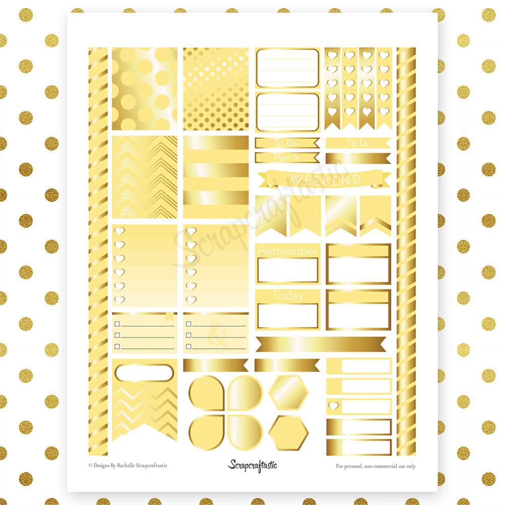 Banana & Gold Printable Planner Stickers | Erin Condren Life Planner ECLP 04137